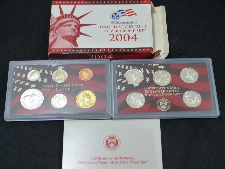 Lot # 18  2004 United States Mint Silver GEM Proof Set with Original Box & COA