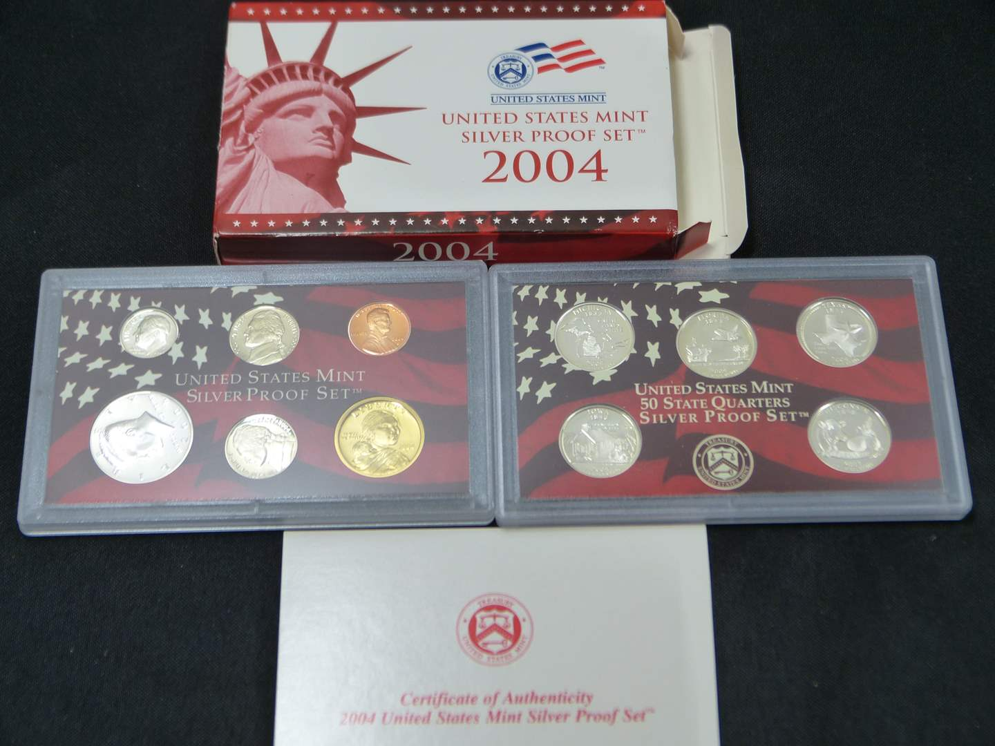 Lot # 18  2004 United States Mint Silver GEM Proof Set with Original Box & COA (main image)