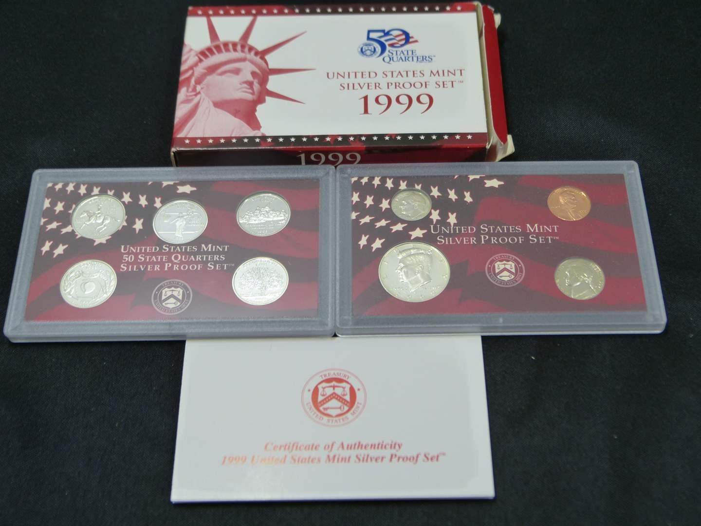 Lot # 19  1999 United States Mint Silver Proof Set with Original Box & COA