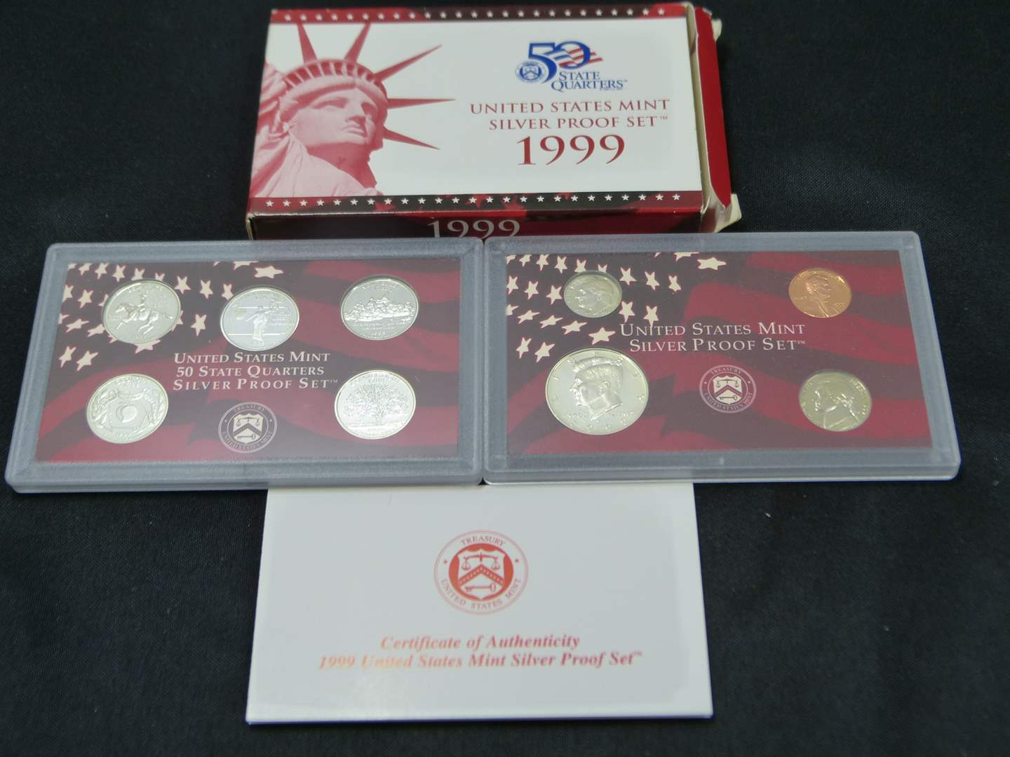 Lot # 19  1999 United States Mint Silver Proof Set with Original Box & COA (main image)