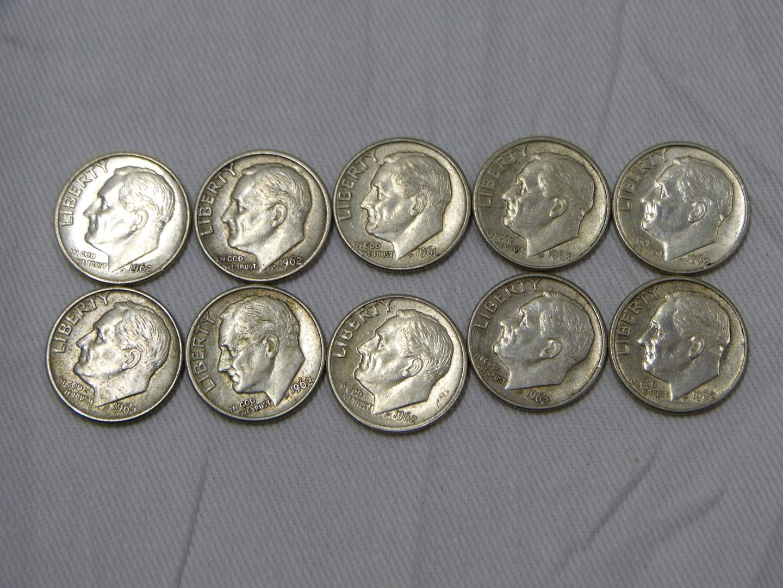 Lot # 27  Mixed lot of 90% silver dimes (main image)