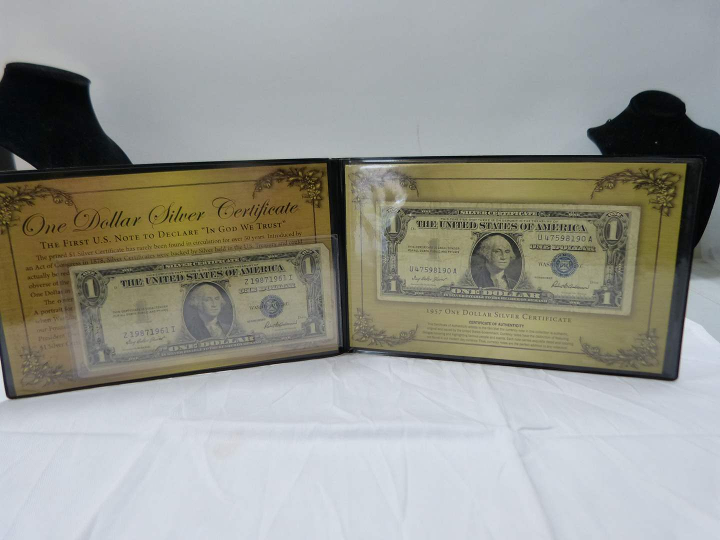 Lot # 38  Nice display of 2 $1.00 silver certificates