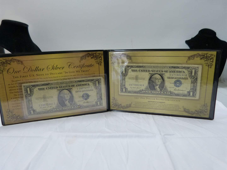 Lot # 38  Nice display of 2 $1.00 silver certificates (main image)