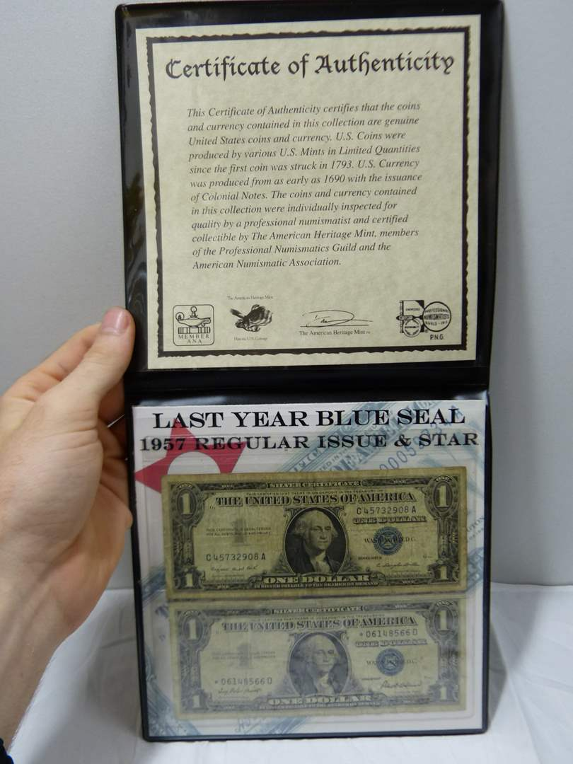 Lot # 39  Nice display of 2 $ 1.00 silver certificates