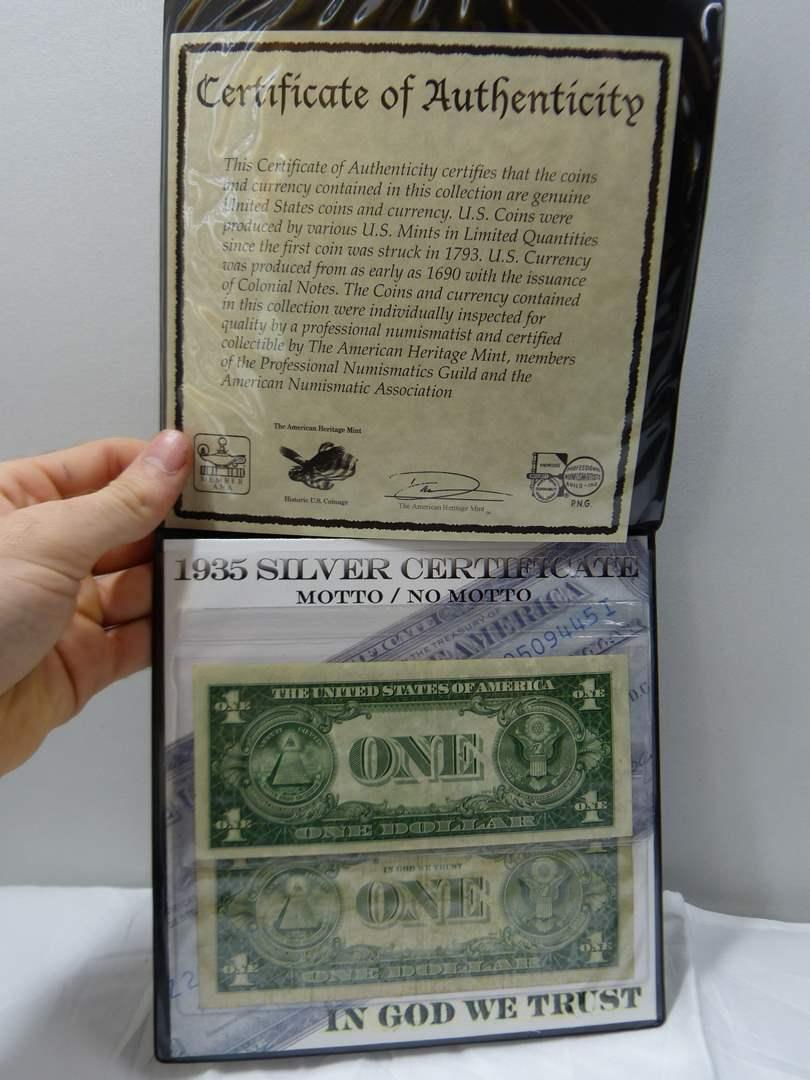 Lot # 40  Display of historic $1.00 bills (main image)