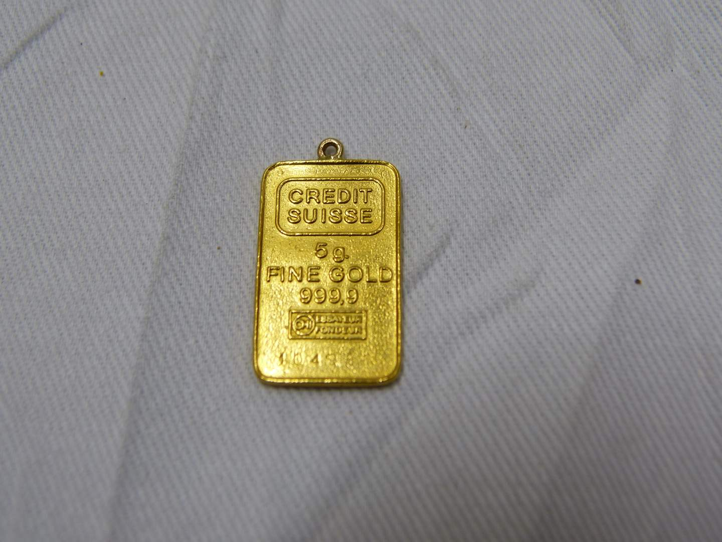 Lot # 51  OH MY!!!  5 GRAMS .999 GOLD bar with loop for chain  GUARANTEED AUTHENTIC (main image)