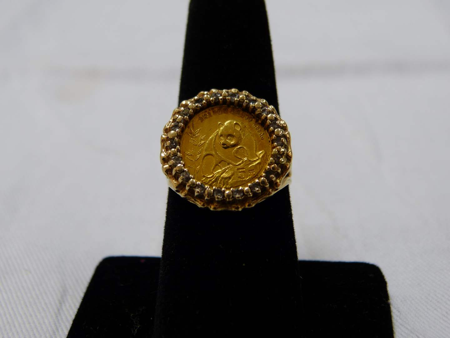 Lot # 53  HOLY PANDA 1/20 OZ .999 purity 1990 GOLD Panda in ring Size 8 5.54 grams (main image)