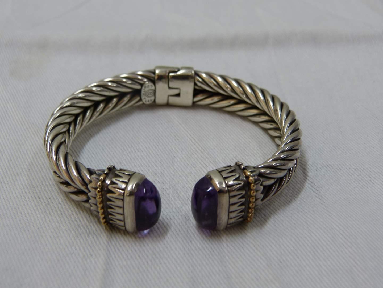 Lot # 54  Fantastic HEAVY sterling cuff bracelet w/amethyst & accented in 14K gold
