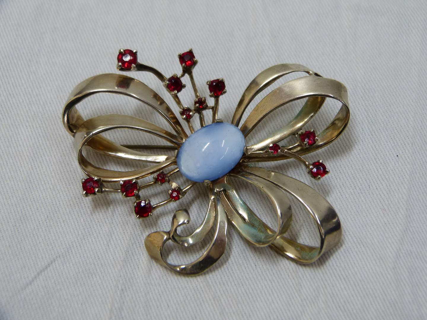 Lot # 55  Absolutely beautiful signed butterfly sterling brooch blue & red stones (main image)