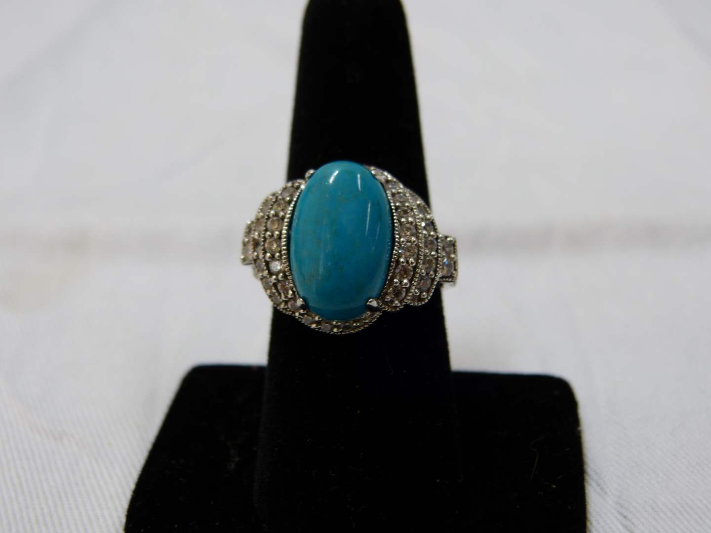 Lot # 56  Great sterling & blue stone size 8 ring (main image)
