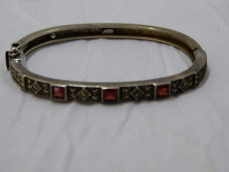 Lot # 60  Fantastic Red Stone & marcasite heavy sterling bracelet