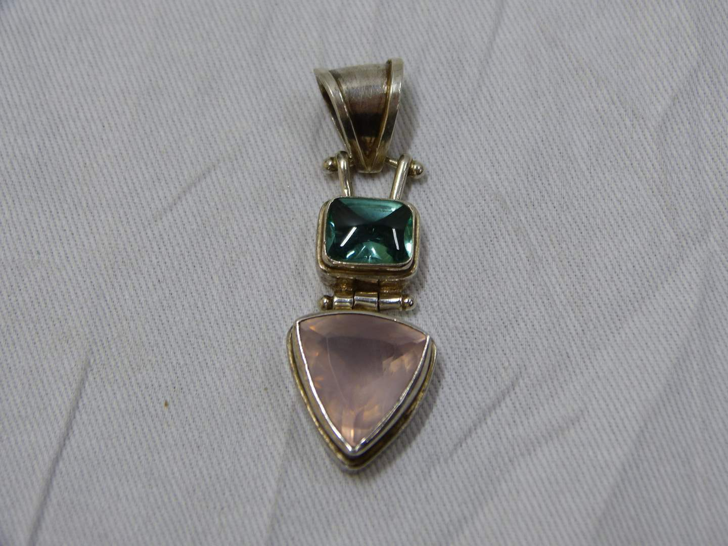 Lot # 74  Beautiful multi colored stones sterling brooch (unmarked but tested and guaranteed sterling)