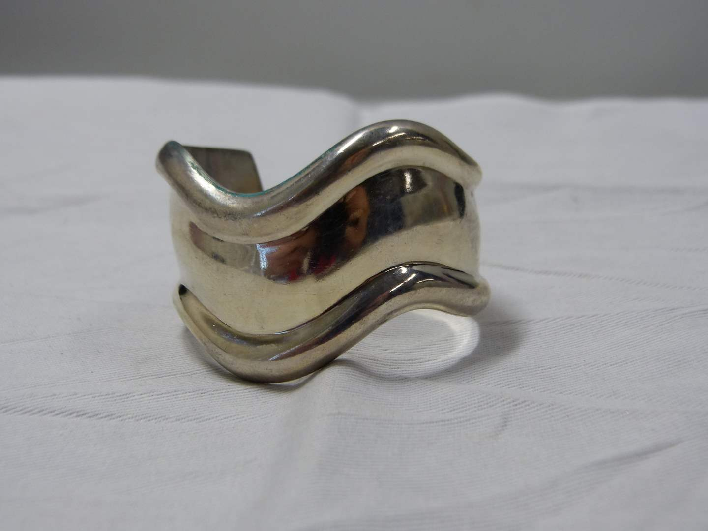 Lot # 86  Very heavy 66.5 grams signed sterling silver cuff (main image)