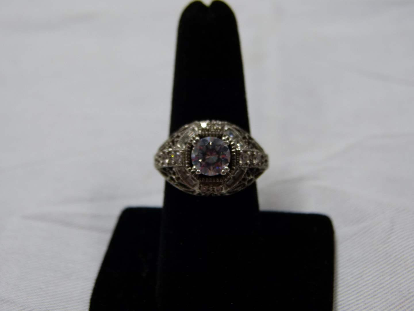 Lot # 88  Great BRIGHT (it is brilliant not purple) CS & sterling silver ring size 8