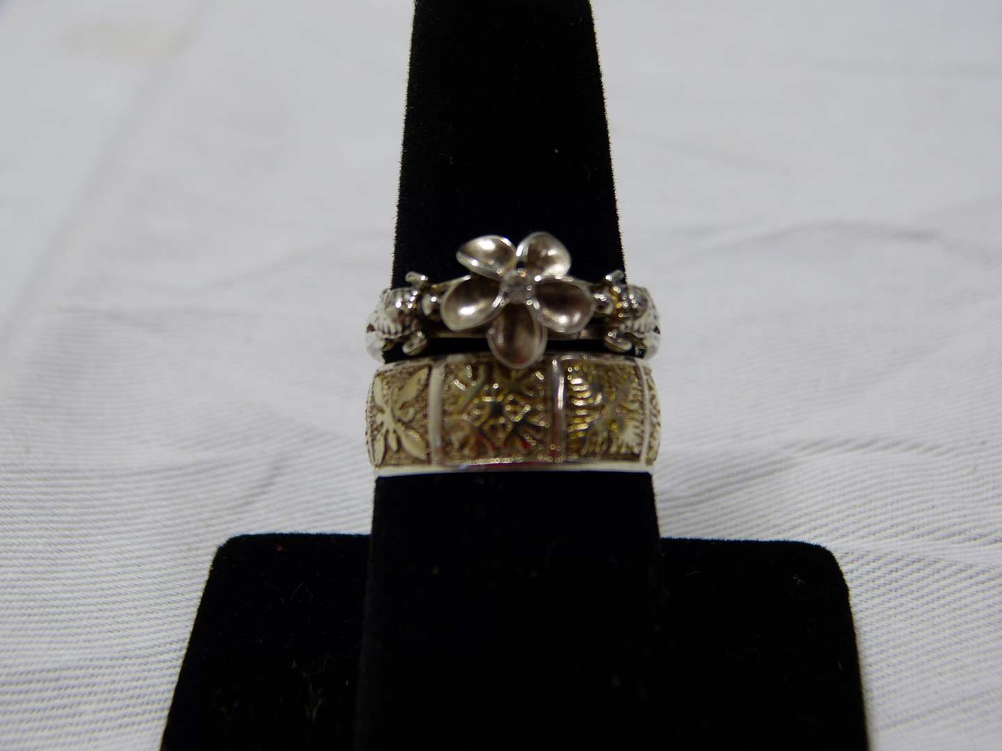 Lot # 91  2 sterling silver rings size 8