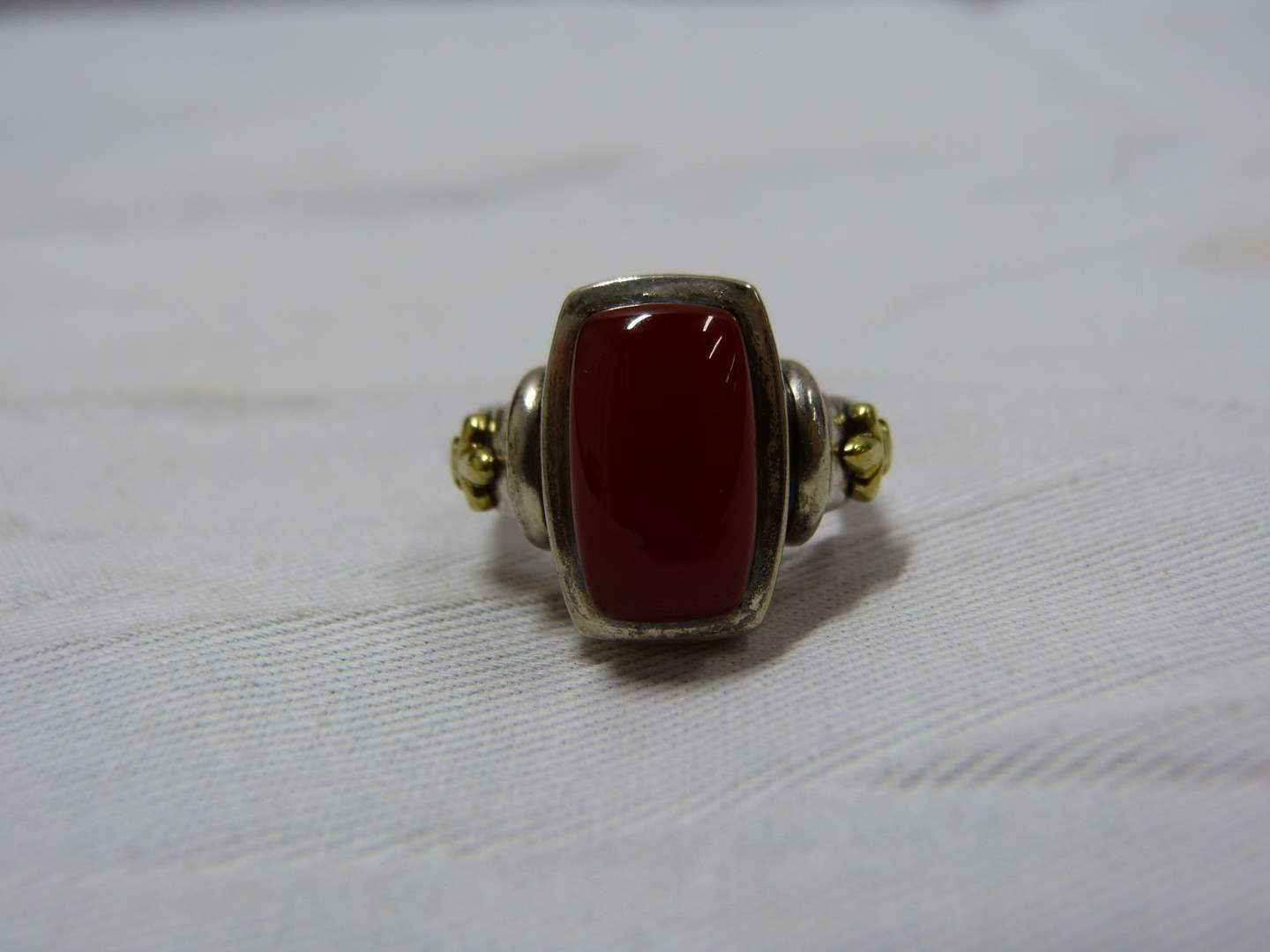 Lot # 99 AWESOME sterling silver & 18K gold accents size 8 ring