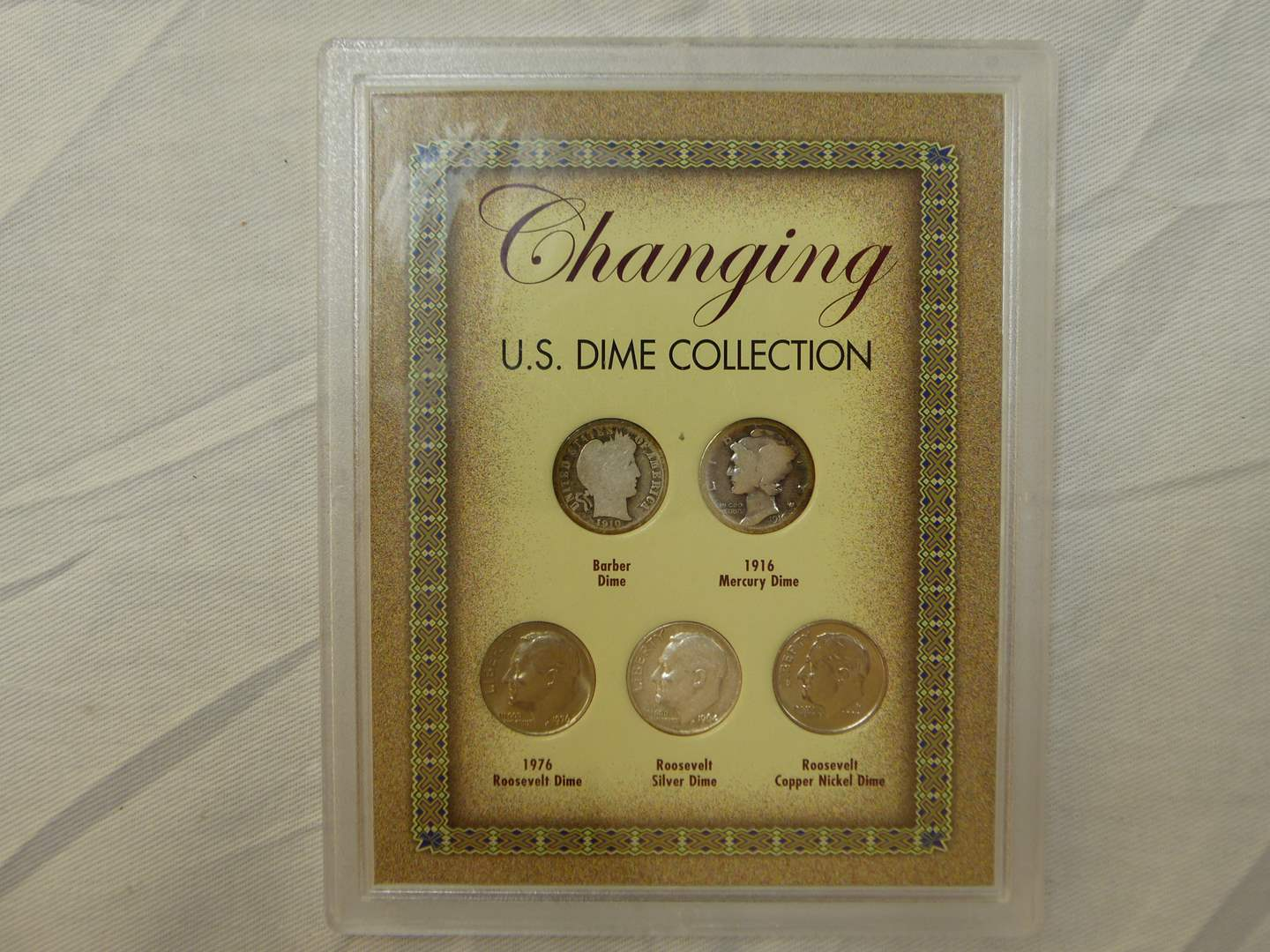 Lot # 102  Interesting display Changing U.S. Dime Collection (including silver) (main image)