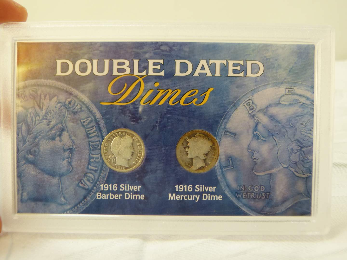 Lot # 104  Double Dated Dime display 1916 Barber & 1916 Mercury (main image)