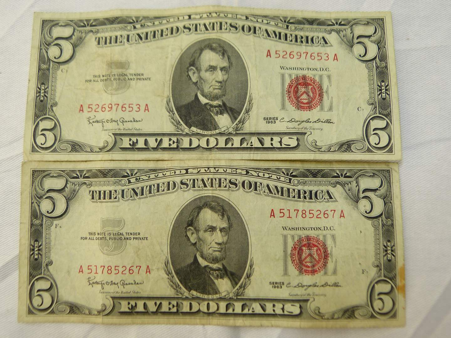 Lot # 108  2 $5.00 US red notes (main image)