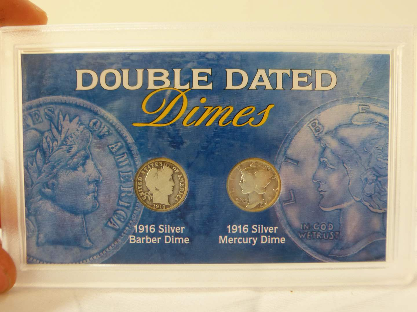 Lot # 111  Nice display case 1916 Double Date Coins Dimes (main image)