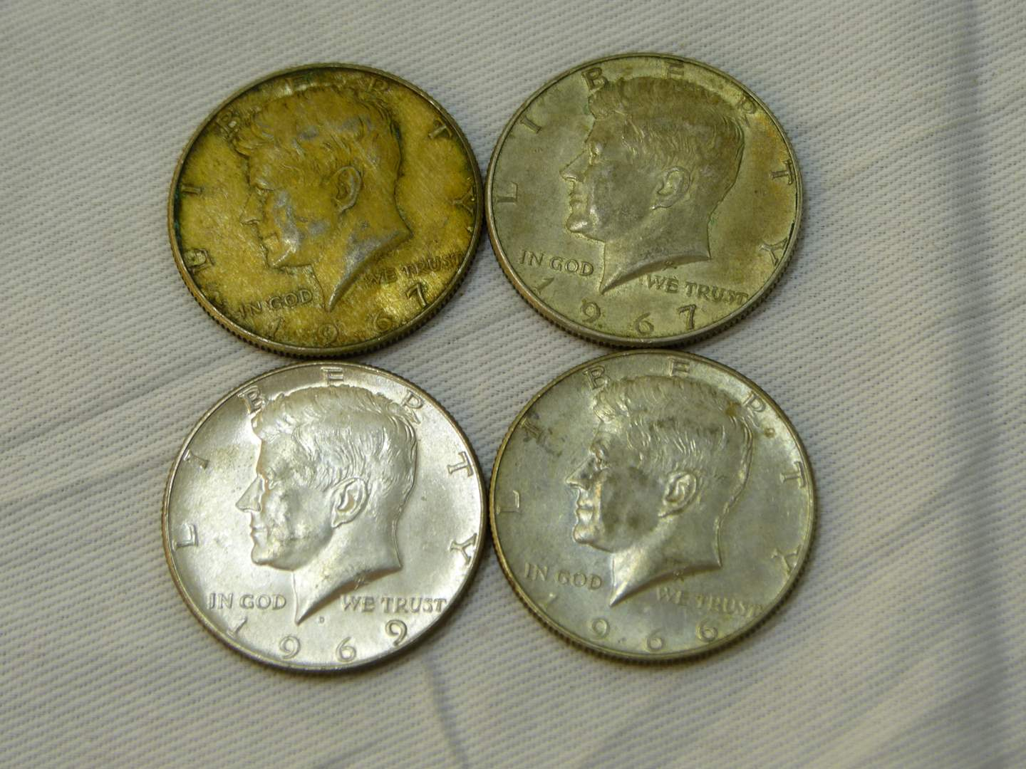 Lot # 116  Lot of 4 Kennedy Halves 40% silver clad various conditions (main image)