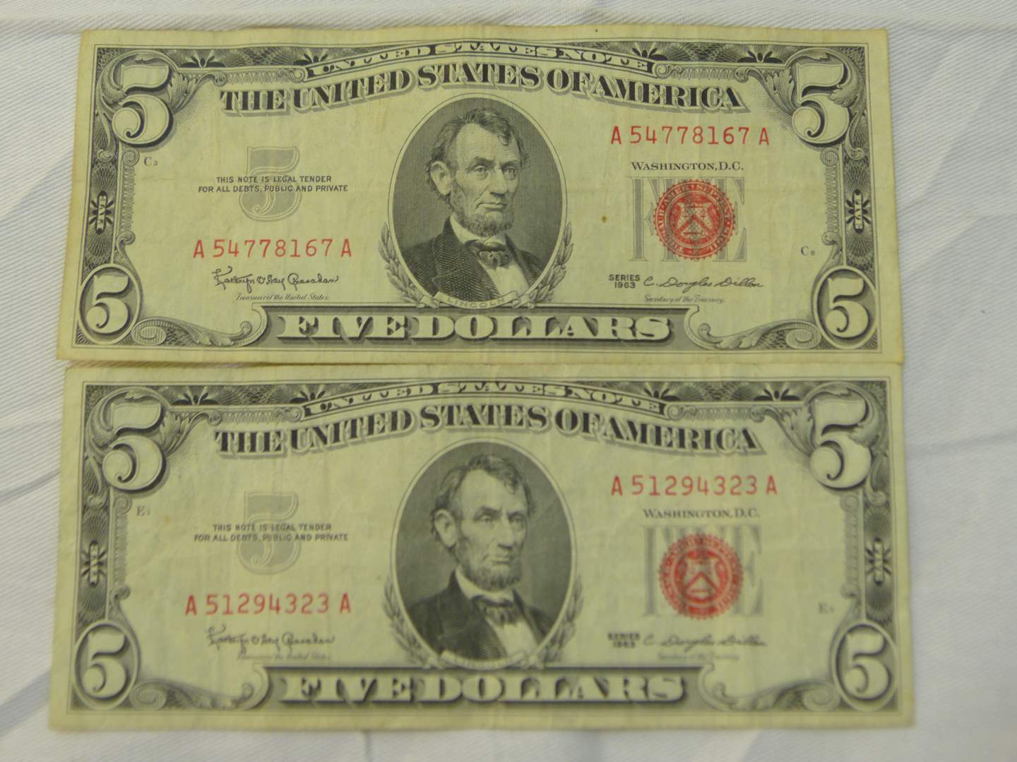 Lot # 117  2 $5.00 US red notes (main image)