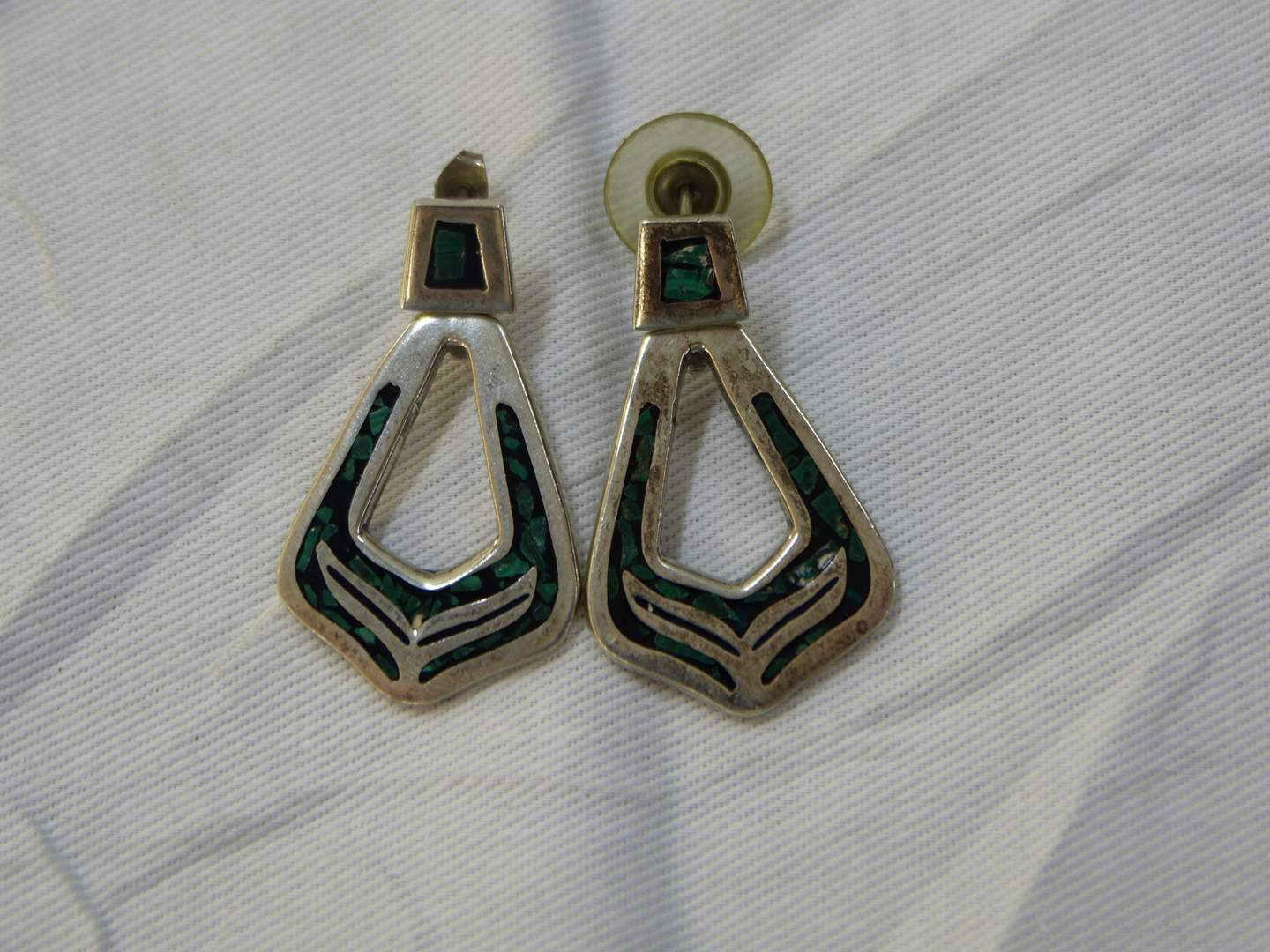 Lot # 126  Great pair Sterling and green stone Made in Mexico drop earrings (main image)