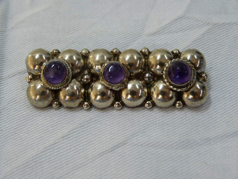 """Lot # 130  Stunning Sterling Silver & amethyst brooch bar pendant 2 1/2"""" across"""