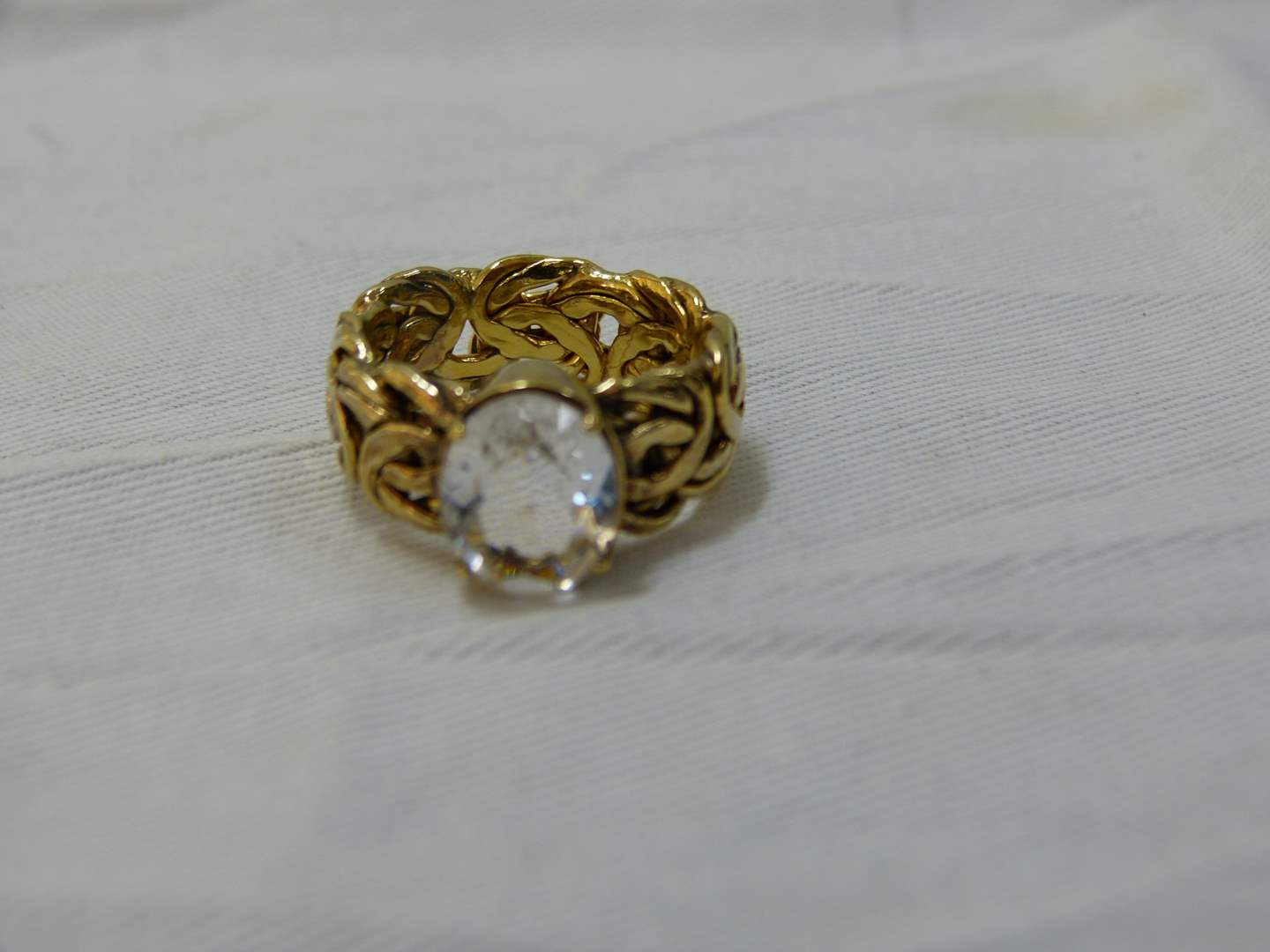 Lot # 135  Gold over sterling silver w/large CZ size 8 ring Made in Turkey