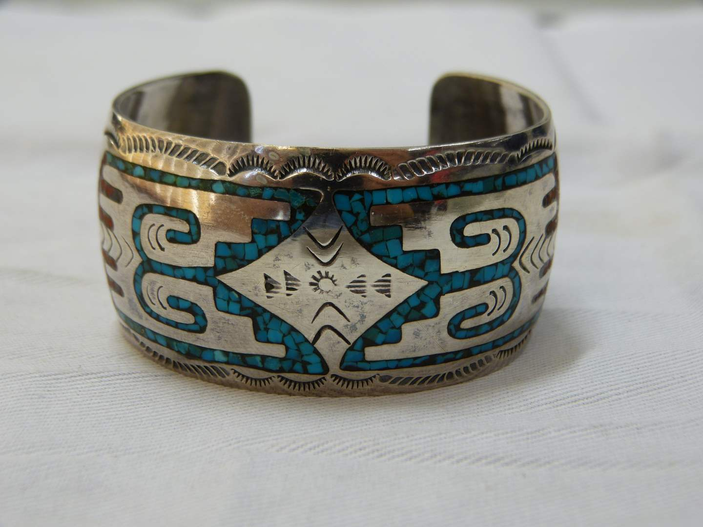 Lot # 137  Fantastic Sterling silver & Turquoise (tested) SIGNED Native American HEAVY cuff  (main image)