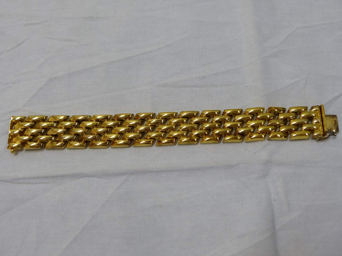 Lot # 139  Great gold over sterling made in Italy HEAVY bracelet