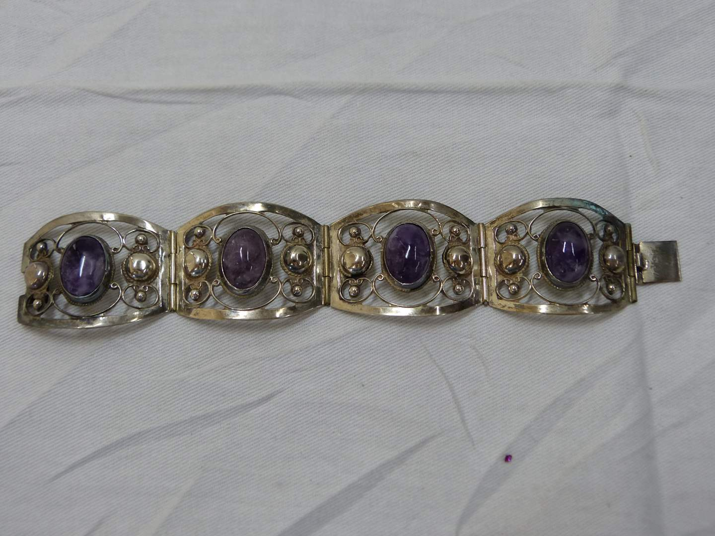"""Lot # 140  Hand made sterling silver & amethyst 7"""" link bracelet (l@@k closely at the pictures this is a GREAT piece)"""