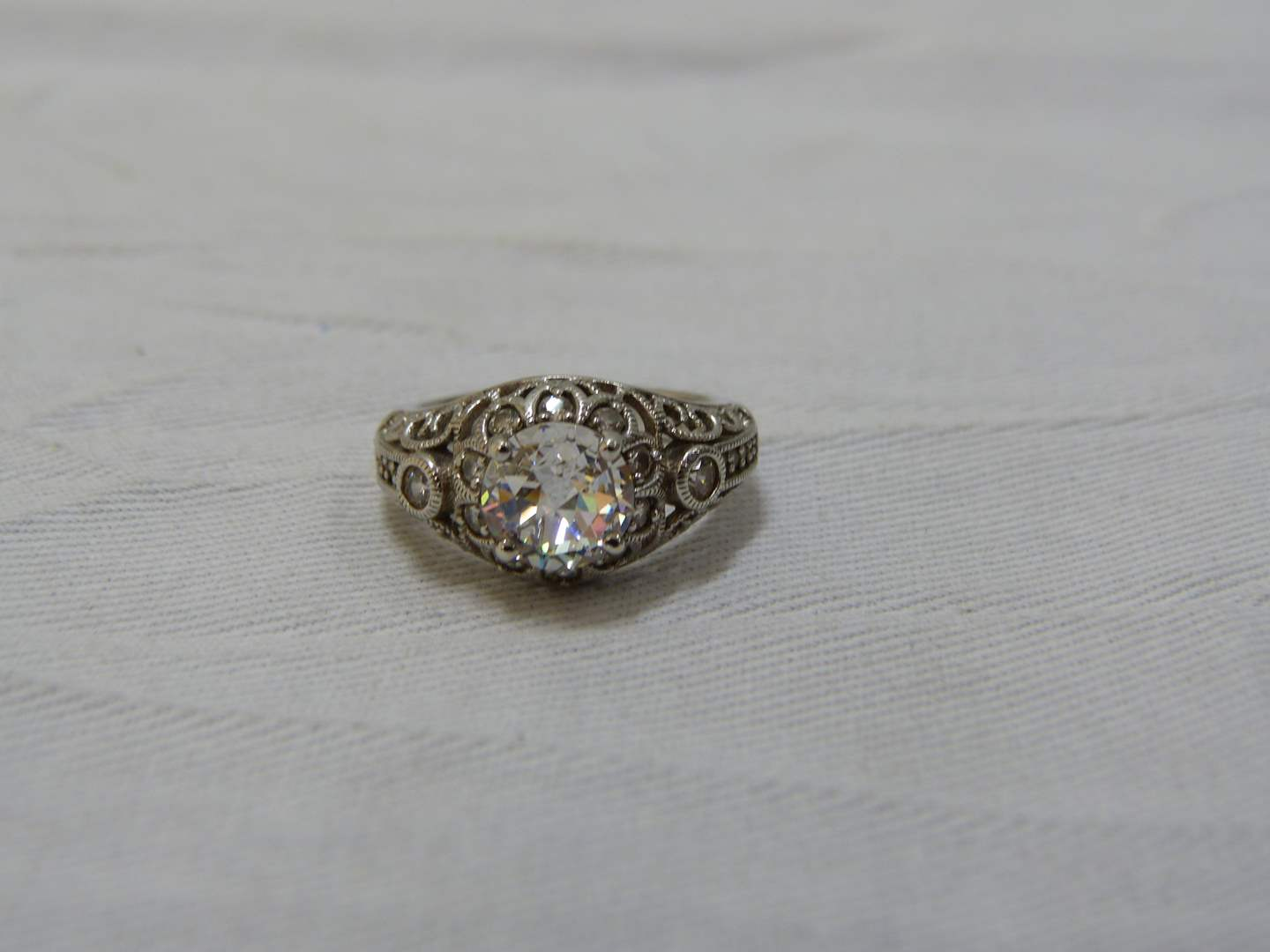 Lot # 143  Sterling silver & large CZ reticulated ring size 7 (main image)
