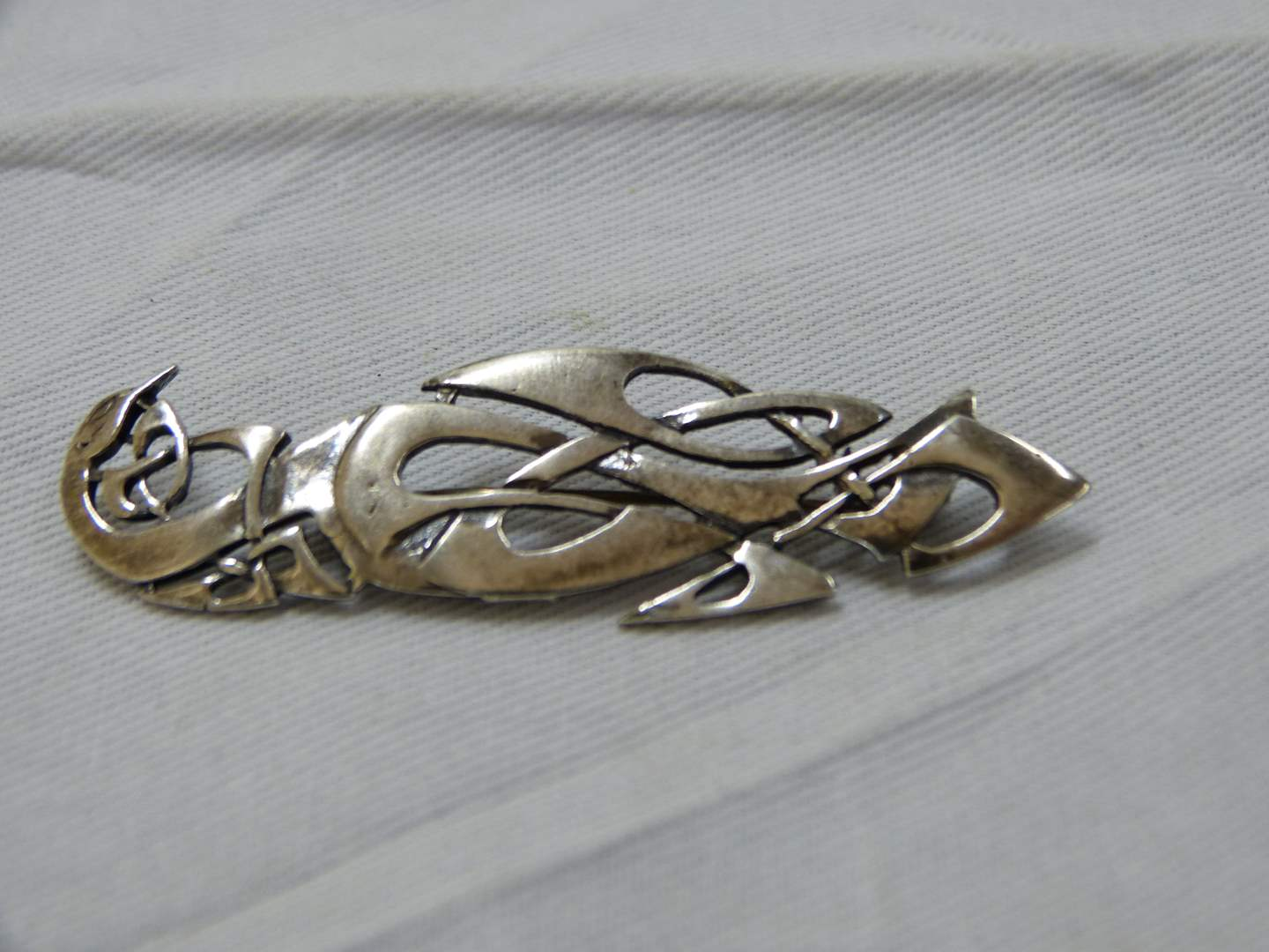 """Lot # 144  Unique sterling silver tribal style signed 2 1/2"""" brooch (main image)"""