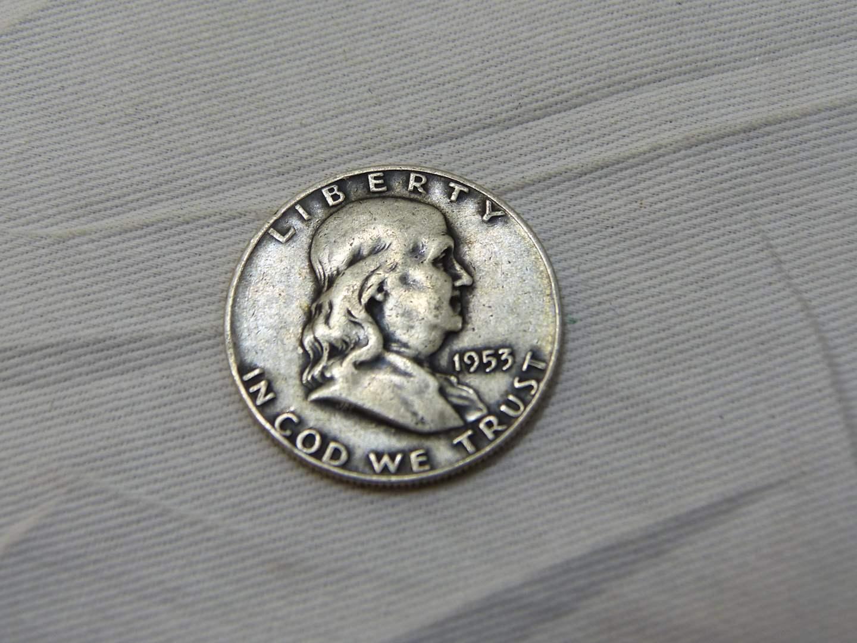 Lot # 156  Great condition Franklin silver 1953 half dollar