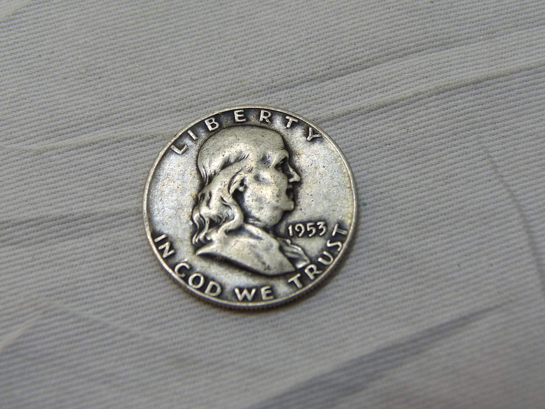 Lot # 156  Great condition Franklin silver 1953 half dollar (main image)