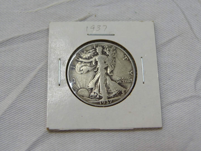 Lot # 158  1937 Walking Liberty silver half dollar (main image)