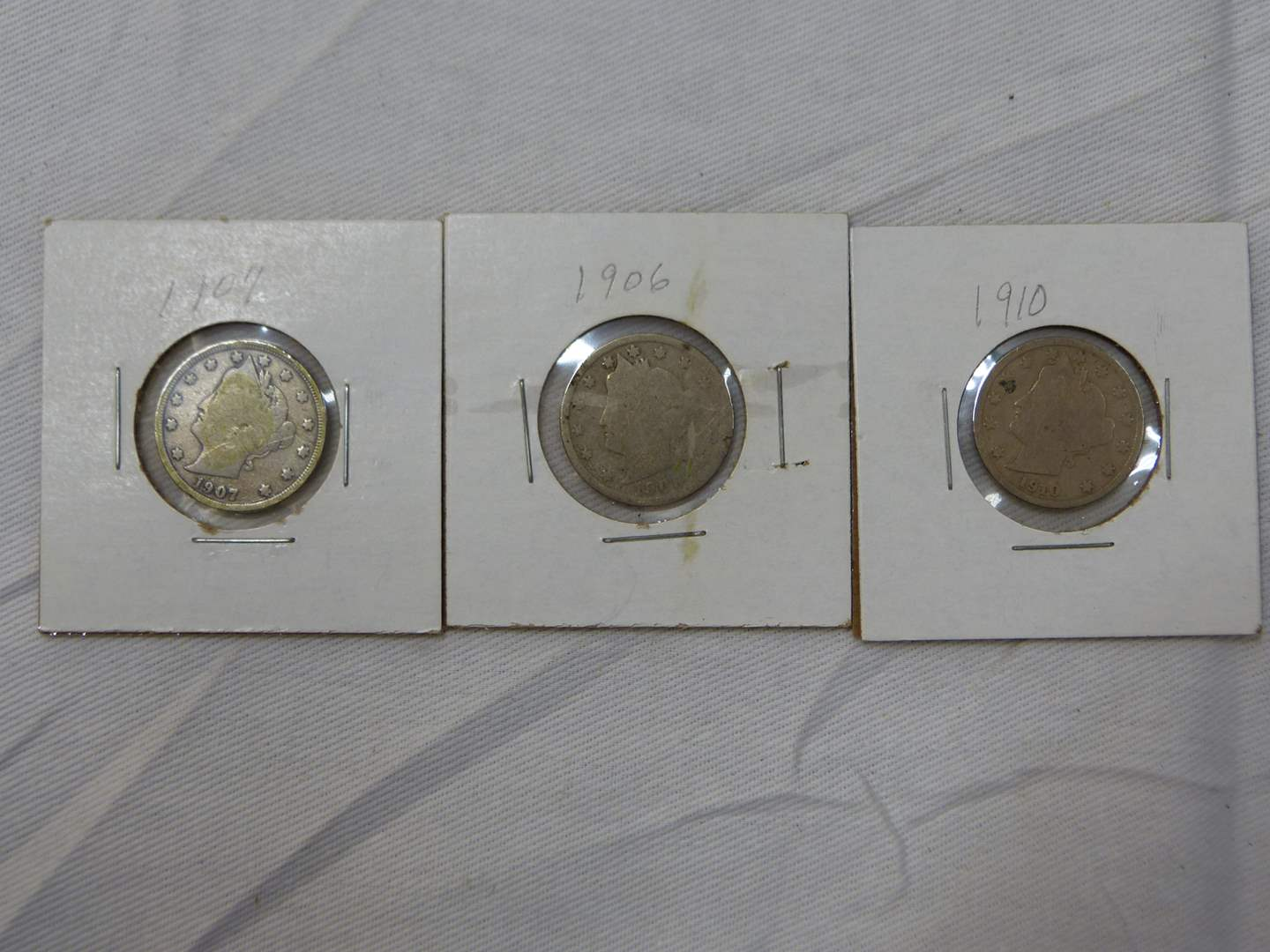 Lot # 160  3 great condition V nickels 1906-1907+1910 (main image)