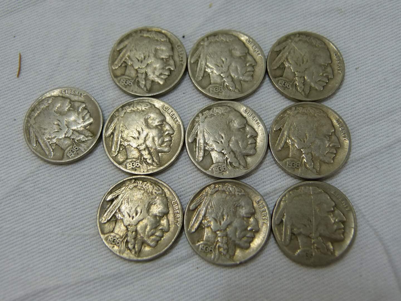 Lot # 163  Lot of 1936 ALL visible dates Buffalo Nickels (main image)