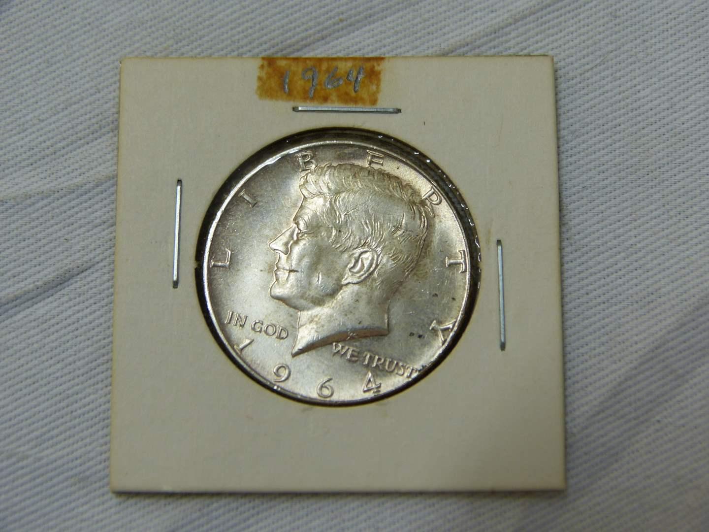 Lot # 168  1964 Kennedy 90% silver half dollar (super clean coin)
