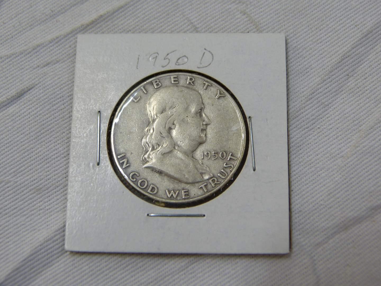 Lot # 169  CLEAN 1950-D Franklin silver half dollar (main image)