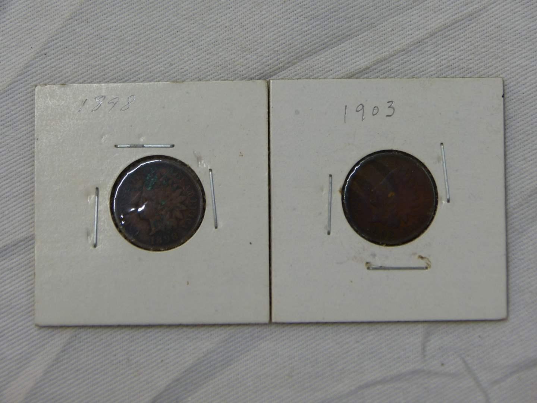 Lot # 170  2 Indian head pennies 1903 & 1898 (main image)