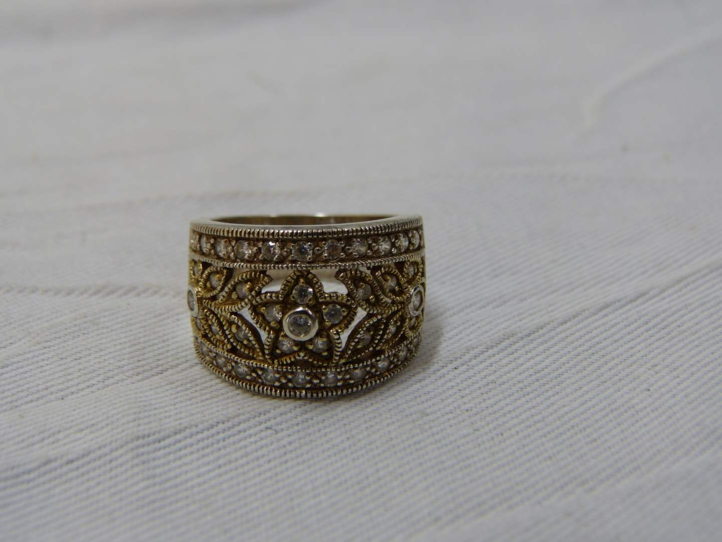 Lot # 176  Sterling silver reticulated ring size 8 (main image)