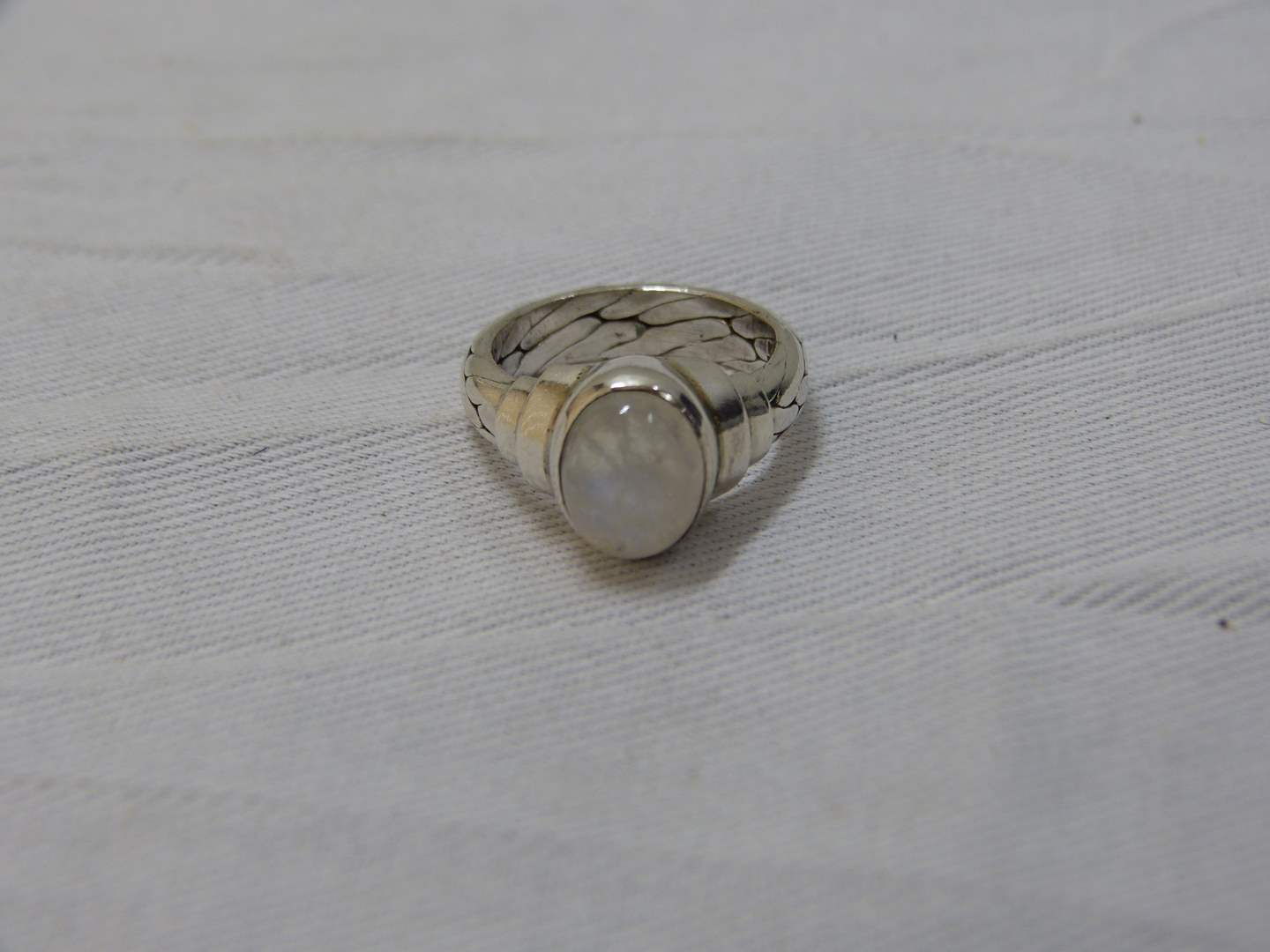 Lot # 178  Sterling silver & mood stone size 6 ring