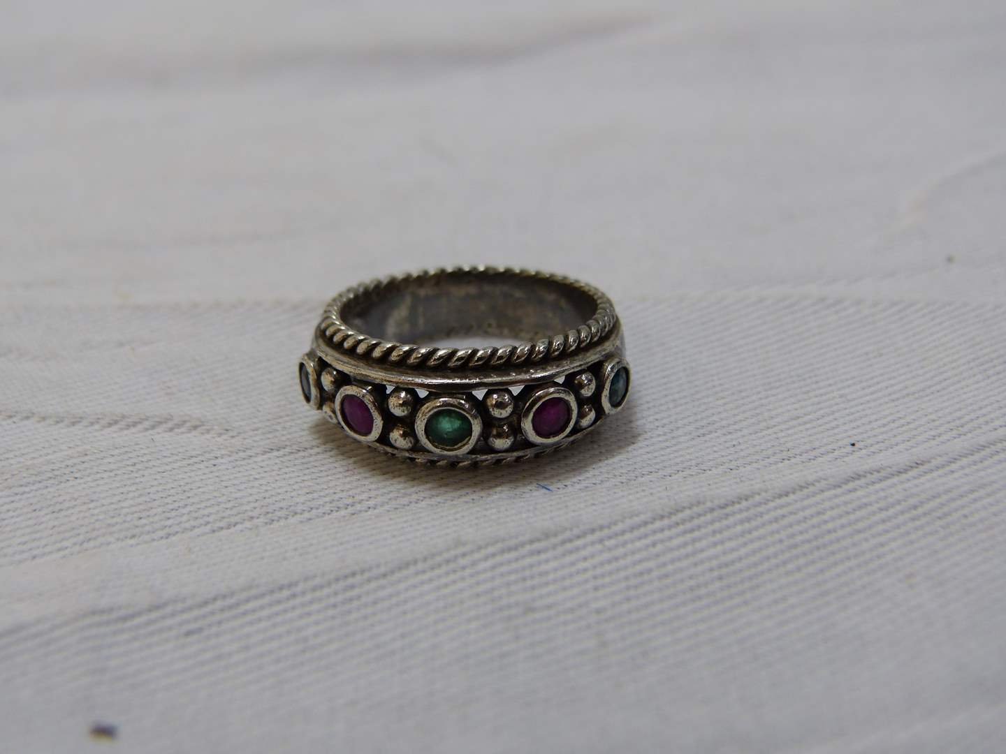 Lot # 181  Sterling silver & multi colored stones size 8 ring
