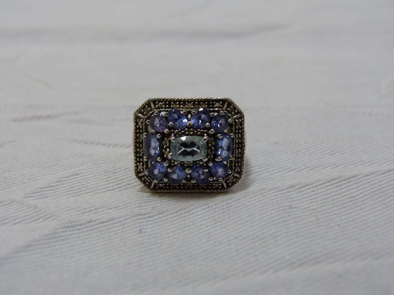Lot # 183  Designer sterling silver amethyst & CZ size 7 ring