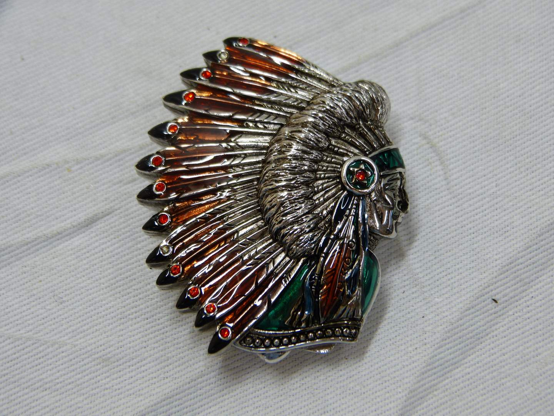 "Lot # 186  Like new Bob Mackie Indian Head design pill/trinket box 2"" (main image)"
