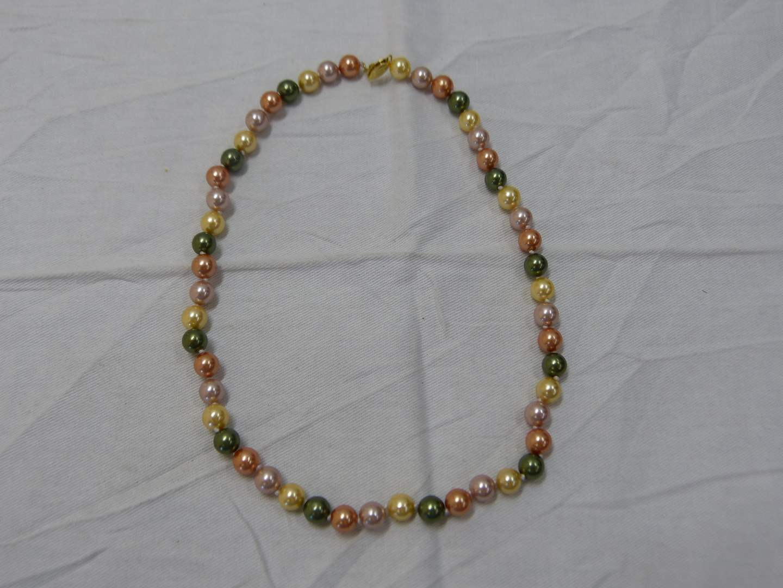 "Lot # 189  18"" strand multi-colored pearls w/14K gold clasp"