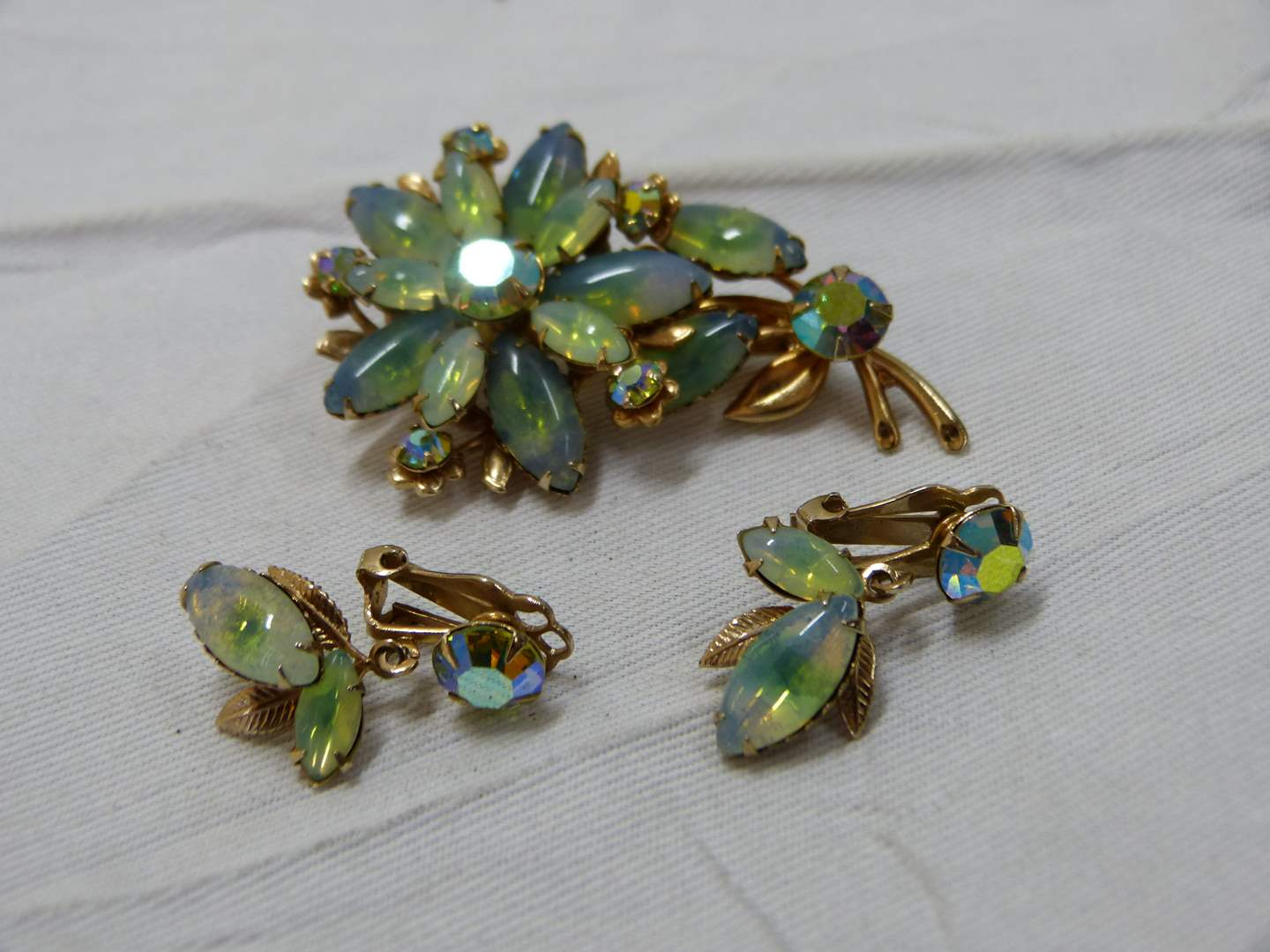 Lot # 192  Vintage unmarked set of earrings with matching brooch (opal?) (main image)