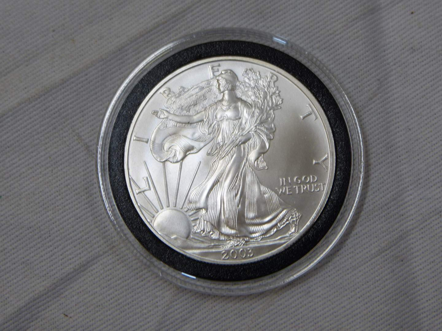 Lot # 202 2003  .999 One Ounce Eagle uncirculated condition w/protective case (main image)